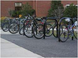 A photograph of bicycles parked on the NIH Bethesda campus.