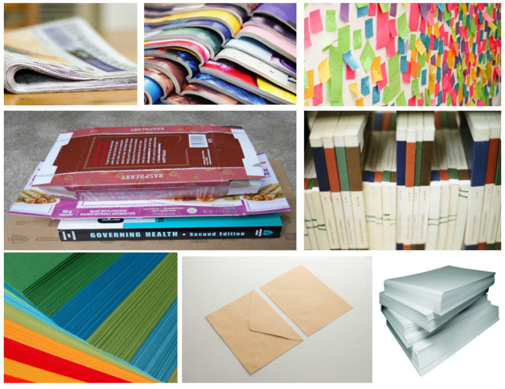 Collage of magazines, books, envelopes, Post-It notes, and printer paper.